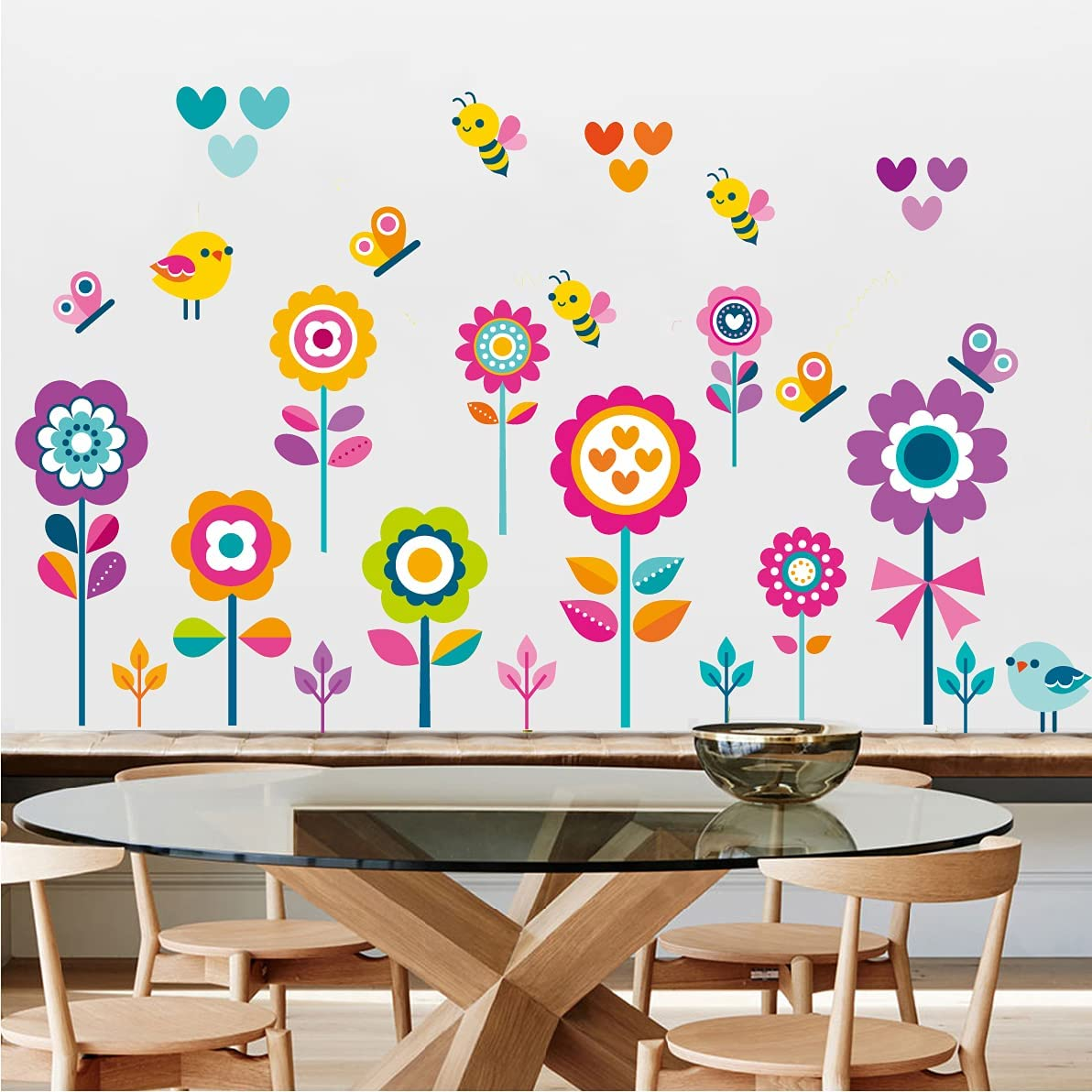 Garden Flowers Wall Decals Spring Floral Butterfly Bee Bird Wall Stickers Removable Peel and Stick Art Murals for Kids Room Nursery Classroom Kitchen Living Room Bedroom Bathroom Decor(Floral)