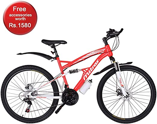 Mitras Egress 26 inches 21 Speed Shimano Gears Dual Suspension Mountain Cycle for Men  Red  Cycling