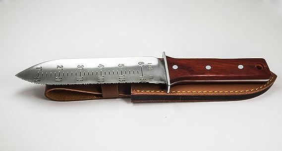 Protector Tech Digger - Antioxidante Cuchillo de pala de mano para detector de metales y umgraben trabajo en jardín (con mango de madera de oscuro, ...
