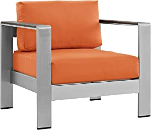Modway Shore Aluminum Outdoor Patio Armchair in Silver Orange