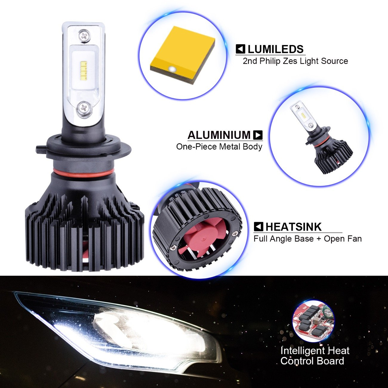 G H4 9003 Hb2 High Low Beam Dual Headlamp 8000 Head Lamp Fuso Lumens With Extremely Bright Phi Zes Aec Chips All In One Led Headlight Conversion Kit