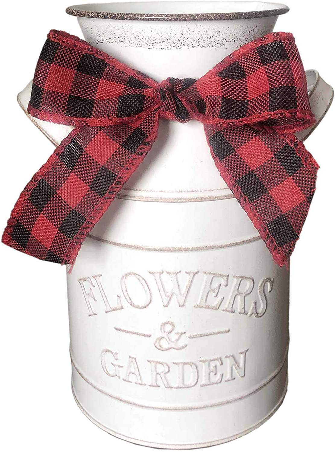Farmhouse Flower Vase Milk Can Jug with Red & Black Checkerd Ribbon for Home Rustic Decor,, Wedding Decor or Gift(White vase)