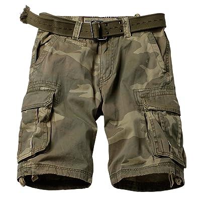 AUSZOSLT Men's Classic Multi Pocket Slim Fit Cotton Twill Casual Cargo Shorts 2608# C34 33 | .com