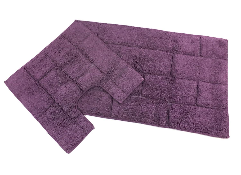 2 Piece Tile Brick Block Aubergine Purple 100/% Cotton Bath MAT /& Pedestal Set