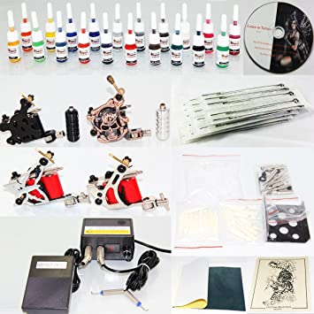 Deluxe Complete Tattoo Kit 4 Machine Gun Power Supply 50 Needles 20 Color  Inks (K4)