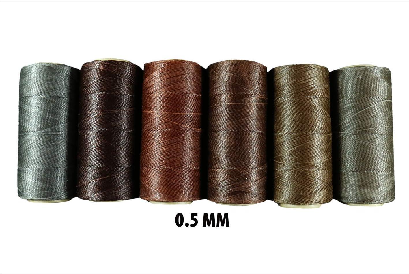 Linhasita Wax Thread 0.5mm Range of Various Colours Brown