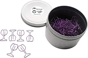 Butler in the Home 100 Count Wine Glass Shaped Paper Clips Great for Paper Clip Collectors or Office Gift - Comes in Round Tin with Lid and Gift Box (Red)
