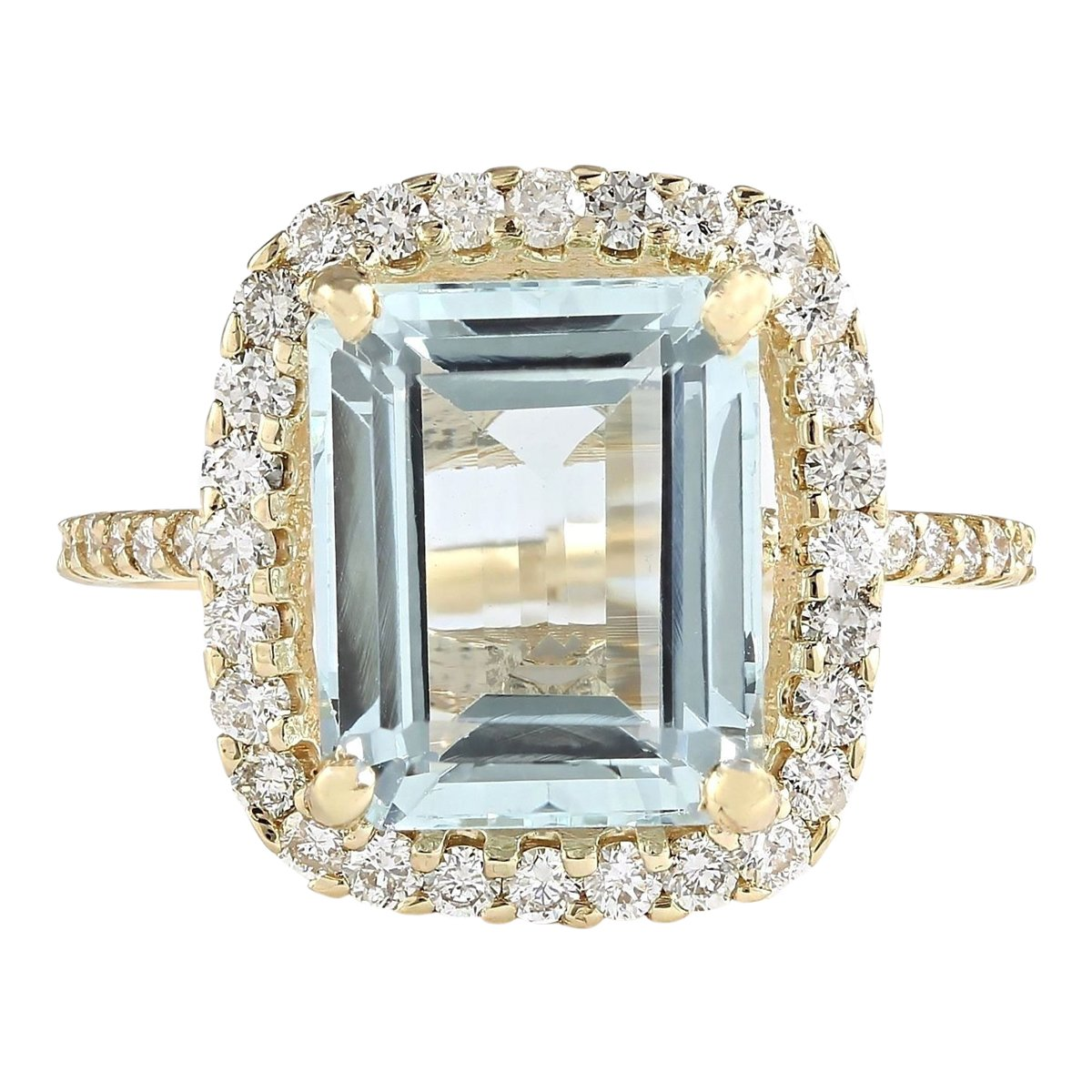 5.2 Carat Natural Blue Aquamarine and Diamond (F-G Color, VS1-VS2 Clarity) 14K Yellow Gold Cocktail Ring for Women Exclusively Handcrafted in USA by Unknown