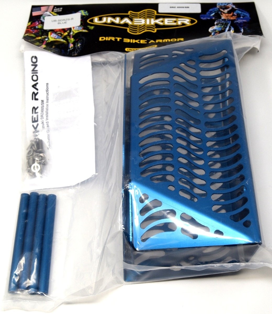 Unabiker Suzuki 00-15 DRZ400S/SM Radiator Guards - Blue