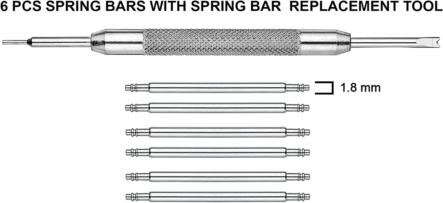 Sizes 8mm to 38mm Alpine 6 pcs Stainless Steel Spring Bars with Spring Bar Removing Tool