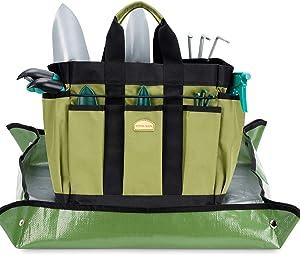 G GOOD GAIN Garden Tools Set, 12PCS Heavy Duty Garden Tools, Garden Tote Bag with Succulent Tools, Garden Kit Includes Hand Trowel, Rake, Transplanter, Gloves and Repotting Mat, Gift for Men Women