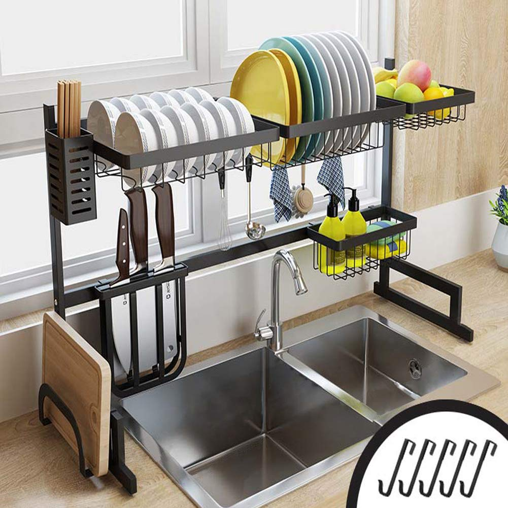 Cabina home Dish Drying Rack Over the Sink Stainless Steel Large Dish Rack Stand Drainer for Kitchen Supplies Counter Top Storage Shelf Utensils Holder, Black, For Double Sink