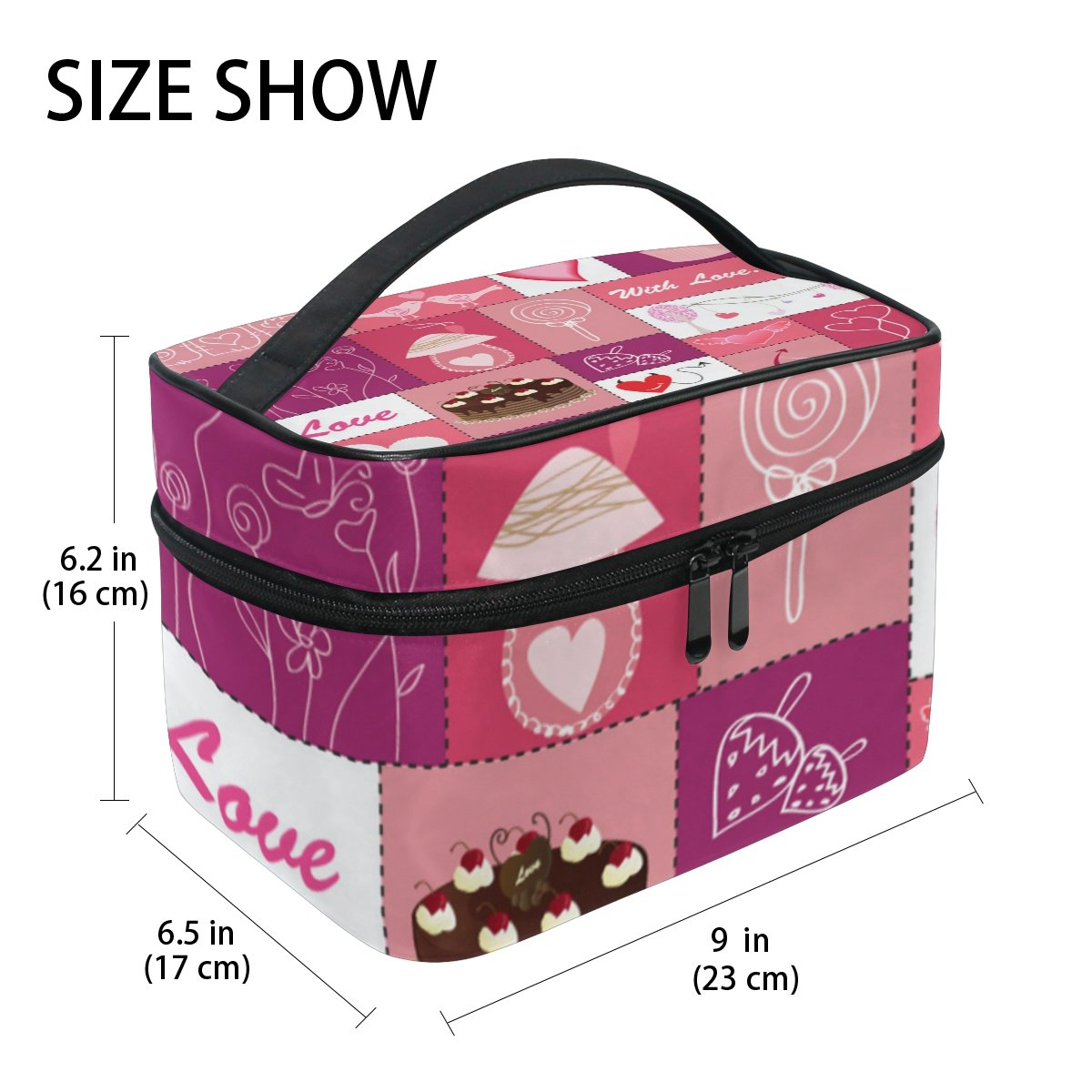 U LIFE Valentines Day Colorful Heart Love You Spring Summer Wedding Travel Cosmetic Makeup Toiletry Storage Bags Boxes Cases Organizers