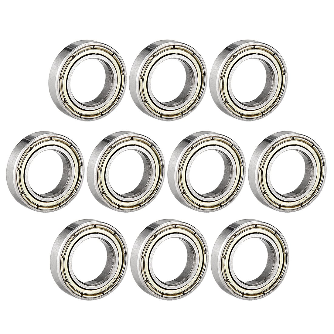 sourcing map 6801ZZ Deep Groove Ball Bearing Double Shield 6801-2Z 1080801, 12mm x 21mm x 5mm Carbon Steel Bearings (Pack of 10) a18060900ux0391