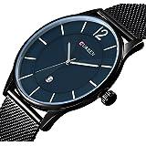Men's Watches Fashion Minimalist Wrist Watch Analog Ultra-Thin Dial with Milanese Mesh Band