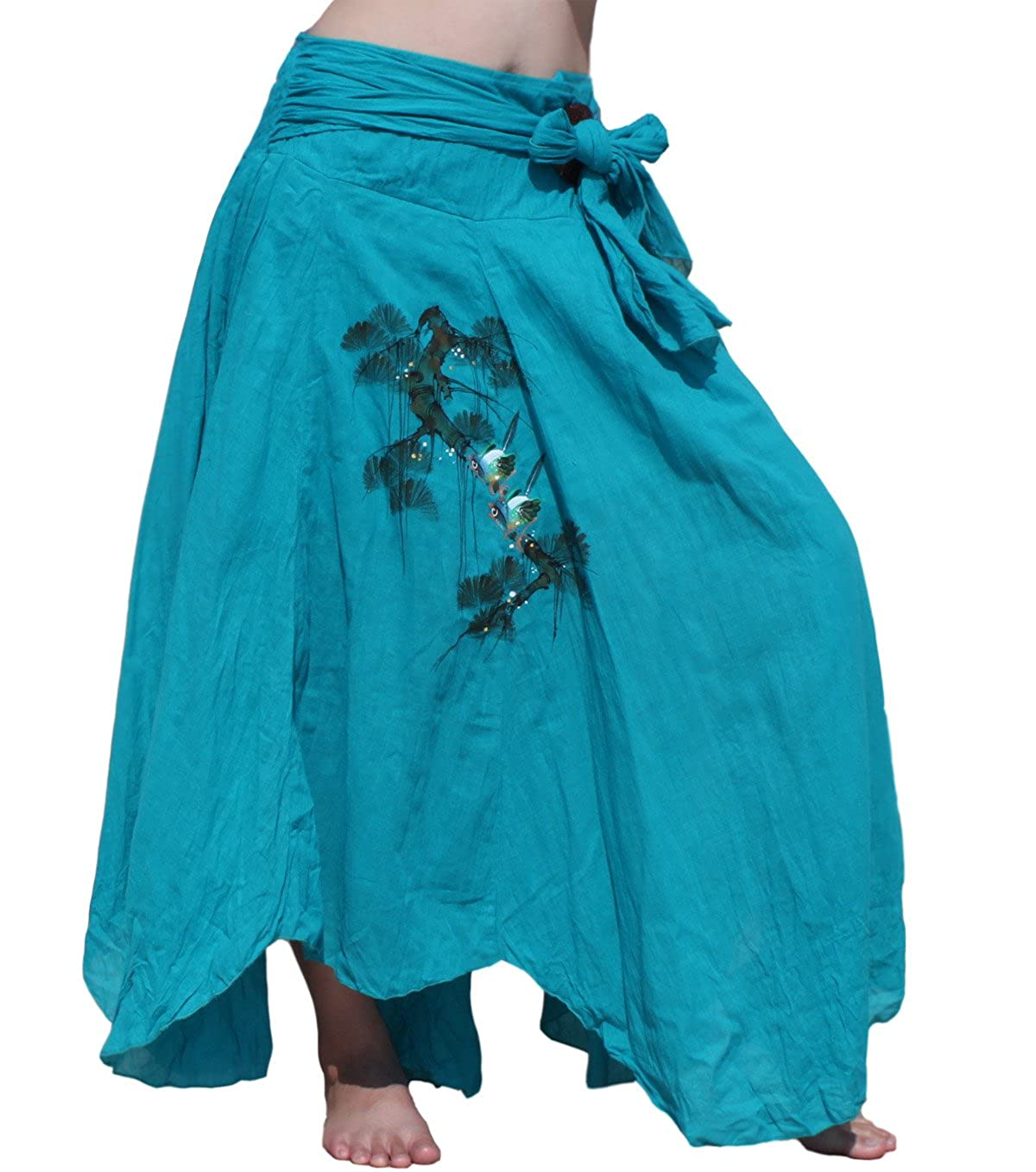 Raan Pah Muang Brand Cotton Coconut Buckle Ragged Hem Green Painted Bird Skirt