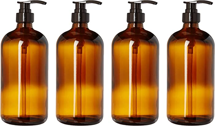 32 Ounce Large Amber Glass Boston Round Bottles with Black Pumps. Great for Lotions, Laundry Soaps, Oils, Sauces and Detergent - Food Safe and Medical Grade - by kitchentoolz (4 Bottles)