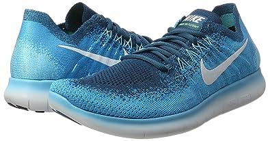 quality design dc6a5 68e0b Nike Free RN Flyknit 2017, Chaussures de Trail Homme, Bleu Lagoon Pure  Platinum