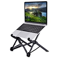 Laptop Stand, Tendak Portable Computer Stand Adjustable Foldable Travel Notebook Holder Mount Desktop Space-Saving with Cooling Hole for MacBook/Lenovo/ASUS/ThinkPad/Dell/HP/Acer (Black)