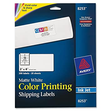 avery matte white color inkjet printing labels 8253 - Avery Colored Labels