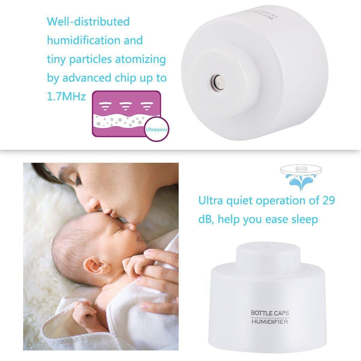 CTKcom Mini Portable Bottle Cap Design USB Ultrasonic Humidifier Air Diffuser for Office Travel Home Room Bedroom Desk Car Vehicle,White