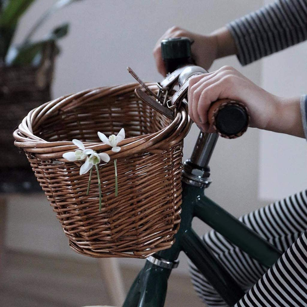 Portable Hand-Woven Shopping Basket Folk Craftsmanship Bicycle Handlebar Storage Basket with Leather Straps GANENN 【US Stock】 Wicker D-Shaped Bike Basket