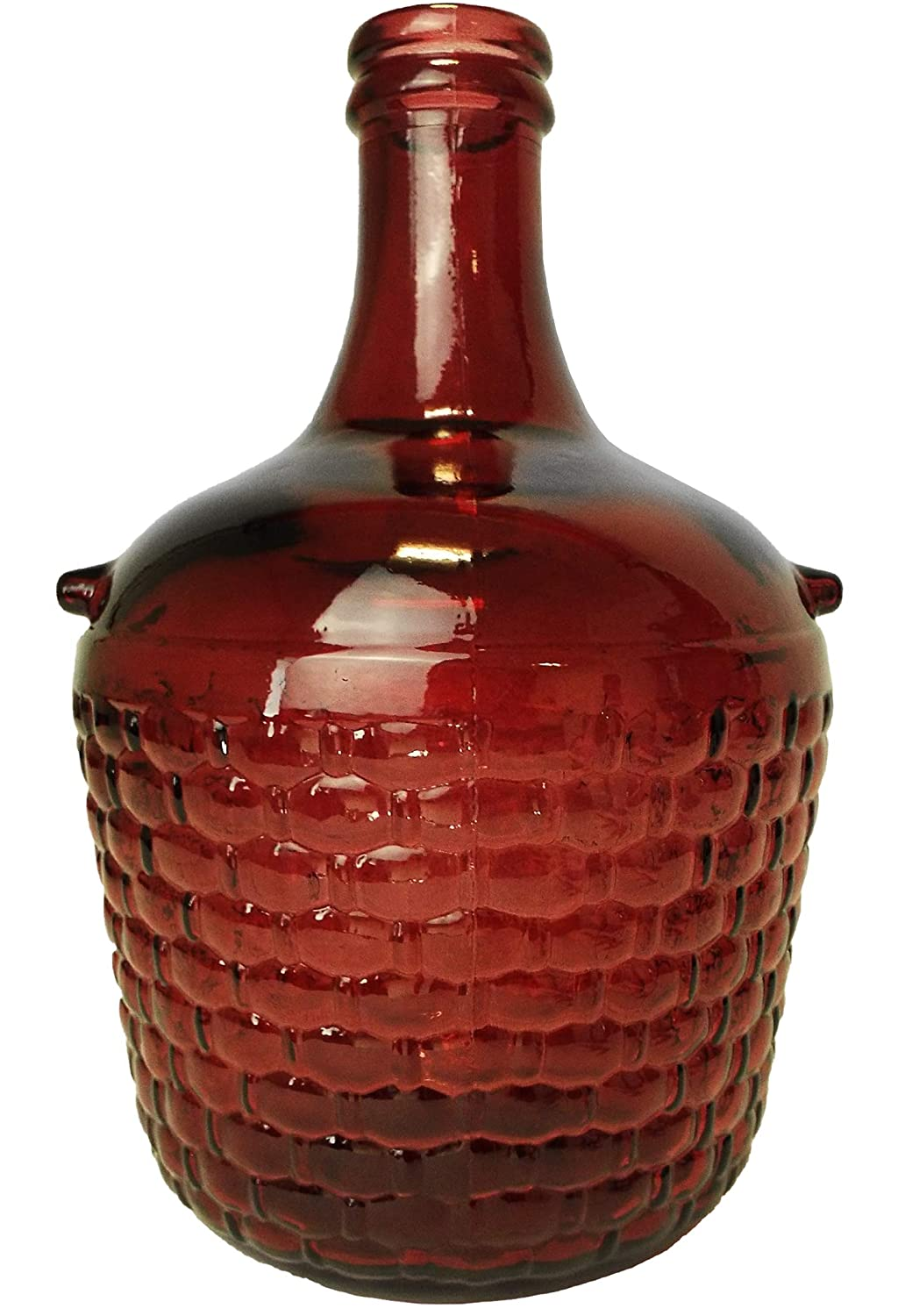 Country style 12L dark red glass demijohn/storage jar with cork bung for wine making Cost Wise