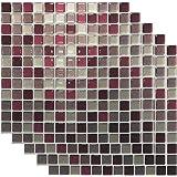 キッチンタイルシール モザイクタイル風シール 3D 立体 ウォールステッカー 5枚セット 23.5cmx23.5cm (レッドMIX)