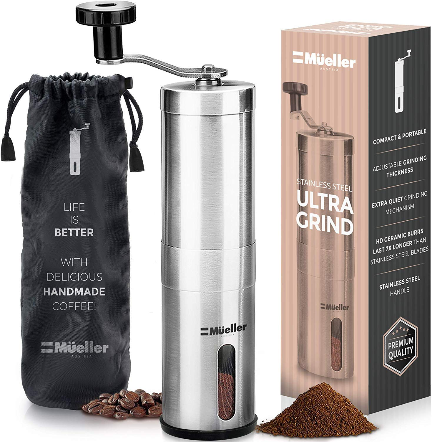Mueller Austria Manual Coffee Grinder, Whole Bean Conical Burr Mill for French Press/Turkish-Strongest and Heaviest Duty, Packaging May Vary, Hand Size, Brushed Stainless Steel by Mueller Austria