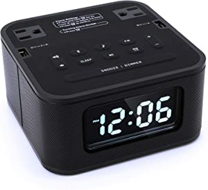 Homtime Radio Alarm Clock Charger with 2 Outlets and 2 USB Ports Charging Station/Wireless Bluetooth Speaker/Micro SD/Snooze / 4 Dimmer/Battery Backup/Digital Clock for Bedrooms, Black