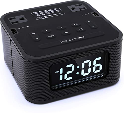 Homtime Radio Alarm Clock Charger with 2 Outlets and 2 USB Ports Charging Station Wireless Bluetooth Speaker Micro SD Snooze 4 Dimmer Battery Backup Digital Clock for Bedrooms, Black