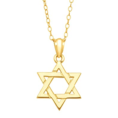 Amazon just gold star of david pendant necklace in 10k gold just gold star of david pendant necklace in 10k gold aloadofball Image collections