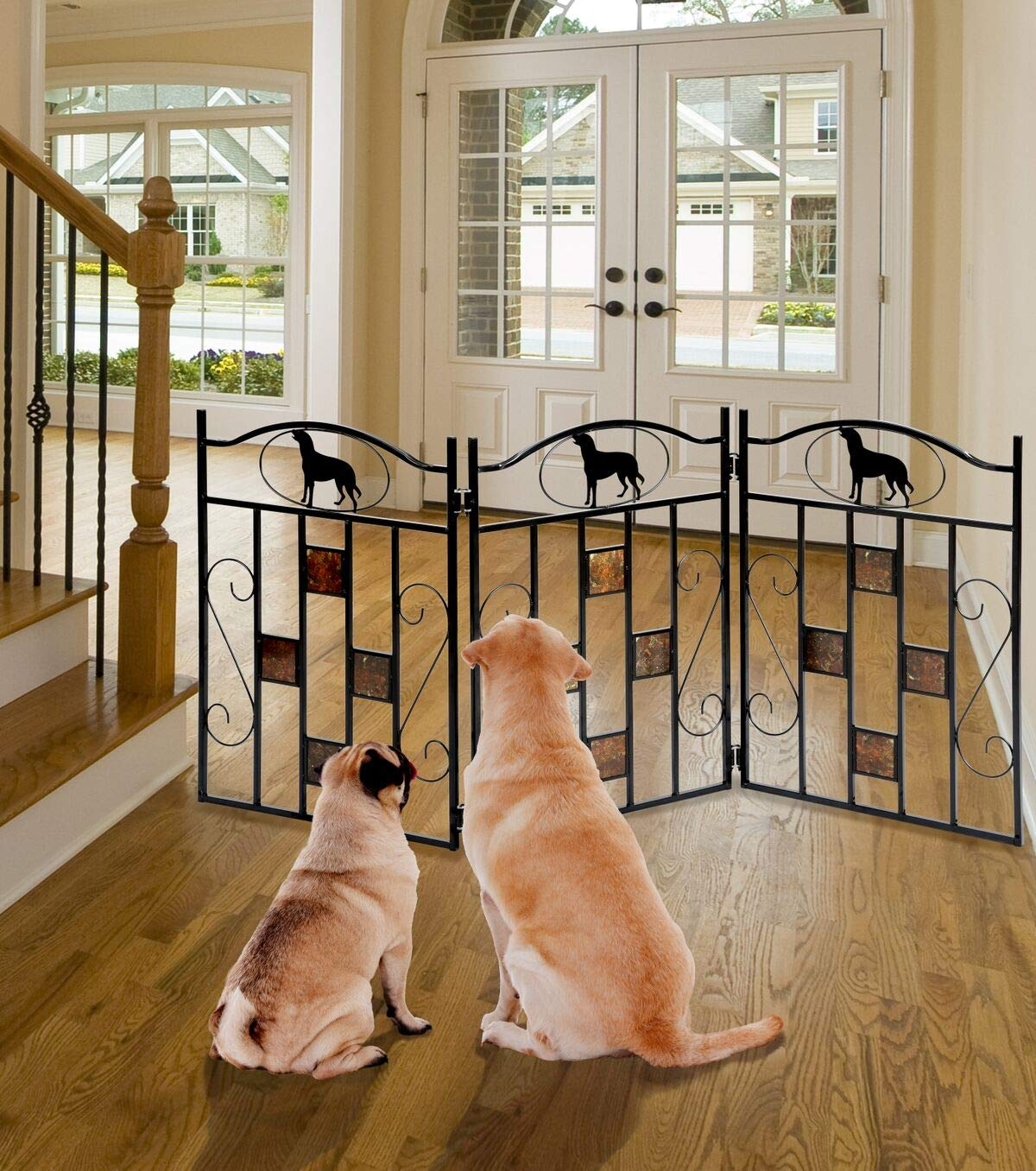 Artistic Design Adjustable Folding Metal Pet Gate Freestanding Extended Size 50 W x 23.5 H