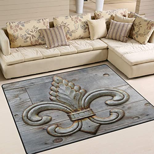 ALAZA Fleur De Lis Flower on Wooden Area Rug Rug