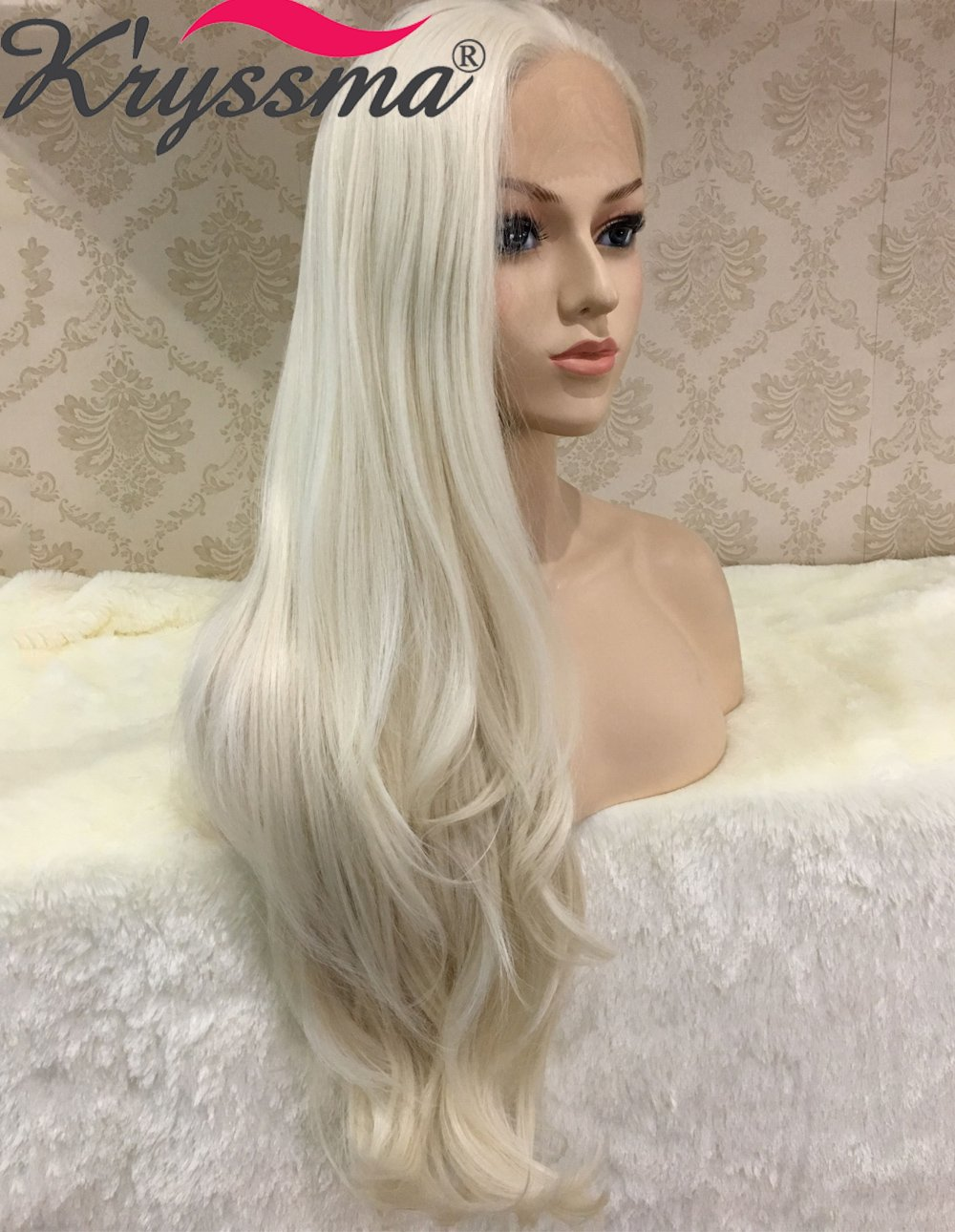 K ryssma Naurual Wavy White Blonde Lace Front Wigs for White Women  Realistic Looking Synthetic 84f99ed99b