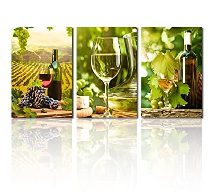 Amazon.com: Canvas Wall Art Grapes and Wine Canvas Painting Green ...