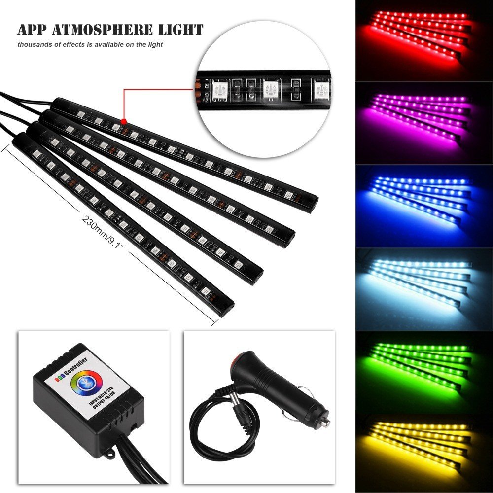SJPLIght Car LED Strip Lights, 4 Pcs 48 LEDs Car Interior RGB Music Atmosphere Floor Underdash Lights, APP Control Bluetooth Light Kit for Iphone/Android/Google Phones by SJPLIght (Image #4)