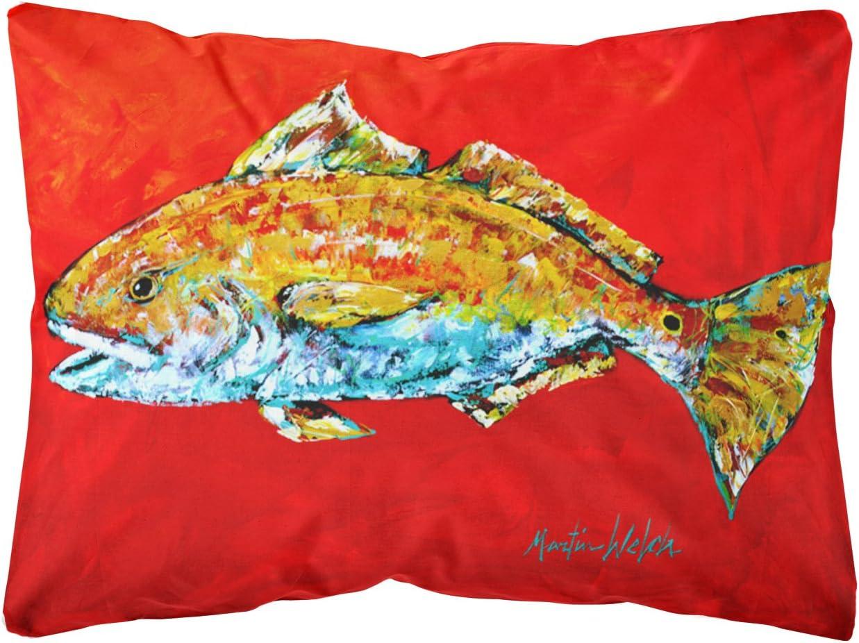 Caroline s Treasures MW1111PW1216 Fish – Red Fish Red Head Canvas Fabric Decorative Pillow, 12H x16W, Multicolor