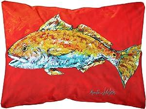 Caroline's Treasures MW1111PW1216 Fish - Red Fish Red Head Canvas Fabric Decorative Pillow, 12H x16W, Multicolor