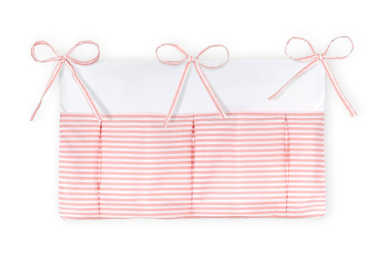 KraftKids Betttasche Streifen rosa H/änge-Ablage 50 x H/öhe 30 cm Bett-Organizer