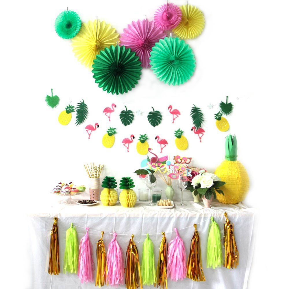 Summer Party Decoration Kit Paper Fans Tropical Party Flamingos and Pineapples Banners Tassel Garlands Hawaiian Luau Beach Supplies SUNBEAUTY 31 Piece by SUNBEAUTY