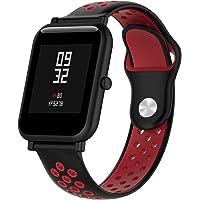 Pinhen Correa para Amazfit Bip - 20mm Silicona Correa de Repuesto para Galaxy Watch 42mm, Gear S2 Classic, Huawei Watch 2, Vivoactive 3, Ticwatch E, Ticwatch 2nd (Black Red)