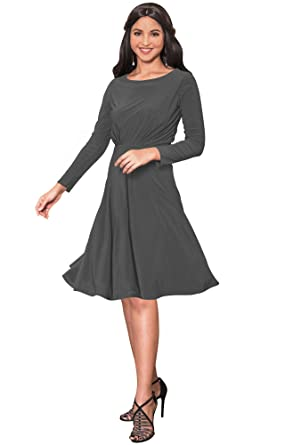 f3737cd11beb KOH KOH Petite Womens Long Sleeve Dressy A-line Fall Winter Formal Flowy  Work Empire