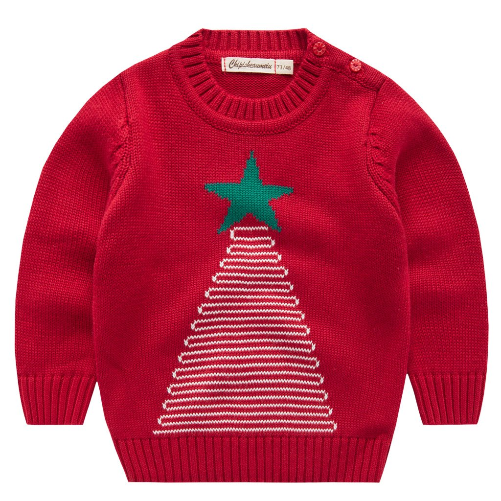 Boys Christmas Knitted Jumper Sweater Toddler Novelty Crewneck Pullover CQBWY001V