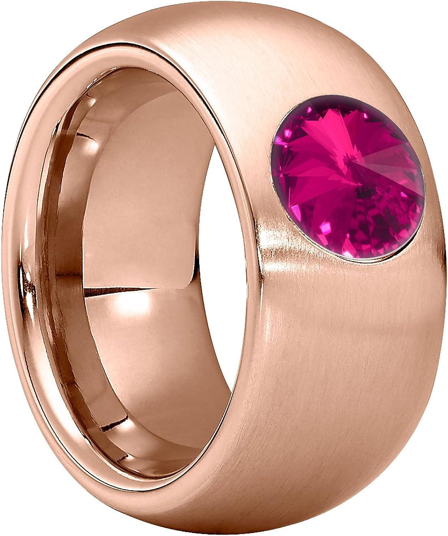 Anillo Heideman Ring Ladies Coma 11 de Acero Inoxidable Color Oro Rosa Mate para Damas con Cuentas Swarovski Blanco Gris o cabujón Negro Tallado en Piedra Preciosa de 8mm.