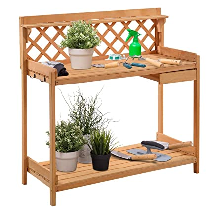 giantex potting bench outdoor garden work bench station planting solid wood construction with side drawer rack - Garden Work Bench