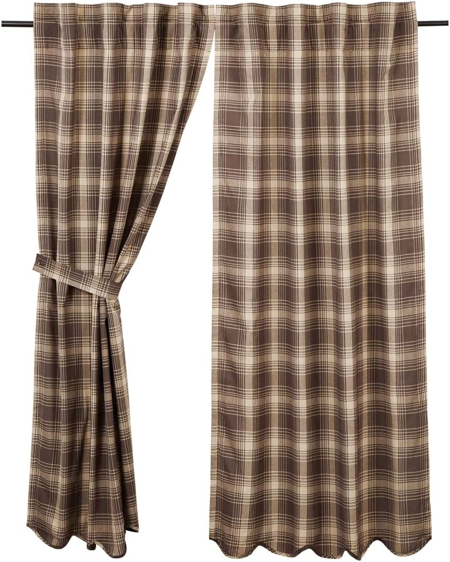 VHC Brands Rustic Lodge Window Dawson Star Brown Scalloped Short Curtain Panel Pair, 63×36