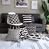 Modern Homes 100% Cotton Black and White Decorative Throw Pillow Covers Cushion Cases 16 x 16 inch (Black & White, Set…