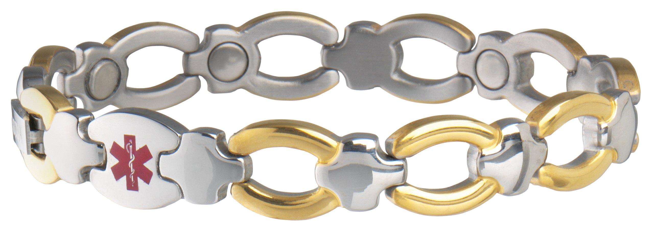 Sabona Ladies Diabetic Med Id Magnetic Bracelet, S/M