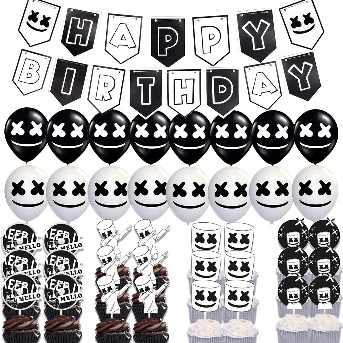 41 Pcs Marshmellow DJ Mask Birthday Party Supplies,DJ Game Party,for Kids Birthday Party Decoration Supplies,Kids Gamer Fans Gaming Theme Favors,1 Pre-assembled Banner,16 Latex Balloons,24 Cupcake Toppers